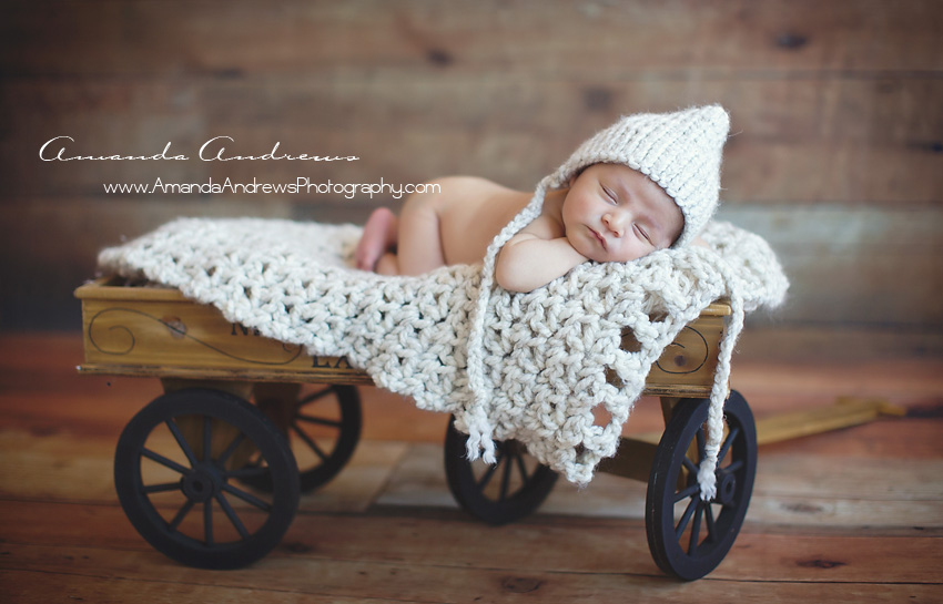 baby sleeping in wagon