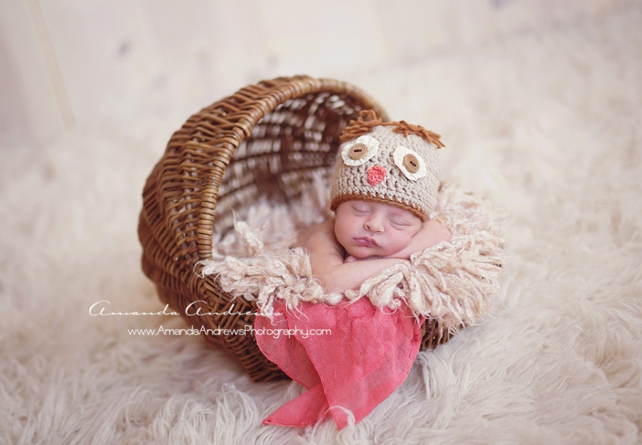 newborn girl in basket with owl hat